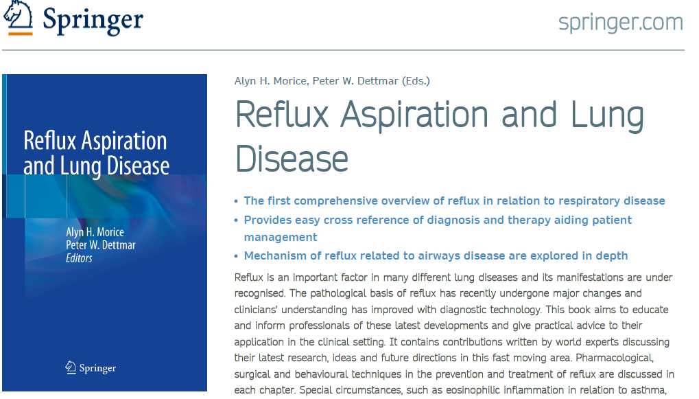 Reflux Aspiration and Lung Disease – new book launch